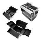 Szétnyitható kozmetikai bőrönd - ezüstös-fekete