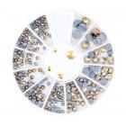 Nail art körömdíszítő kő – arany, mix