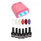 Próba készlet - UV lakkzselé 6x15ml + 4 cs. rózaszín lámpa 36W