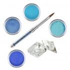 Blue glitter - színes porcelánpor készlet