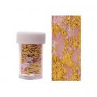 Körömdíszítő fólia – arany színben rózsaszín hálóval