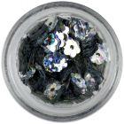 Ezüstszínű lyukas virágok - hologrammos visszfény