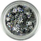 Lyukas virágok - ezüst, hologramm