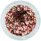 CD flitterek – ezüst színű lyukas kör piros csíkokkal