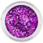 1mm díszítő hatszögek - holografikus, lila