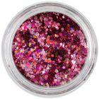 1mm konfettik - holografikus hatszögek, rózsaszín