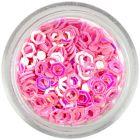 Flitterek - ívelt hatszögek, világos rózsaszín