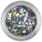 Ezüstszínű díszítő csillagocskák – hologrammos