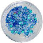 Nail art díszek - textil csillagocskák, kék opálos