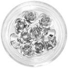 Kerámia körömdíszek - ezüstszínű rózsák, 10db