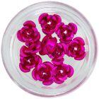 Körömdísz, 10db - ciklámen színű kerámia rózsa