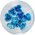 Körömdísz, 10db - türkiz kerámia rózsa