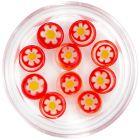 Körömdíszek - piros kövek virággal díszítve, karika