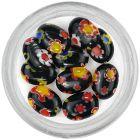 Fekete körömdísz mintázattal - ovális kövek